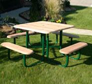 Natural Square Wood Picnic Table